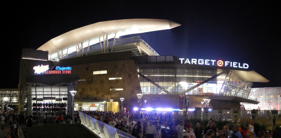[Image: Exterior Target Field, Minneapolis, MN via StadiumPage.com