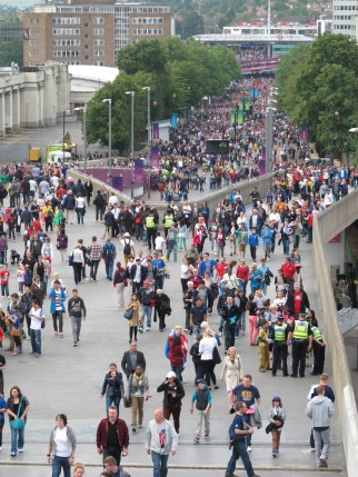 Fans filing down Wembley Way over three hours before kick-off. (Photo: Stadiafile)