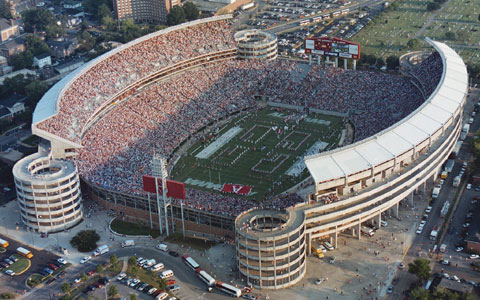 Aerial view of Bryant-Denny Stadium c. 1998