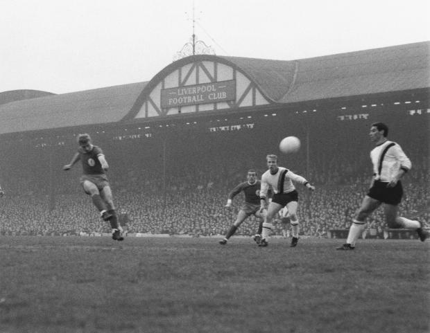Liverpool: Anfield's old main stand in 1965, via talkSPORT