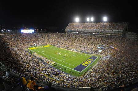 Night game at Tiger Stadium, via LSU Sports