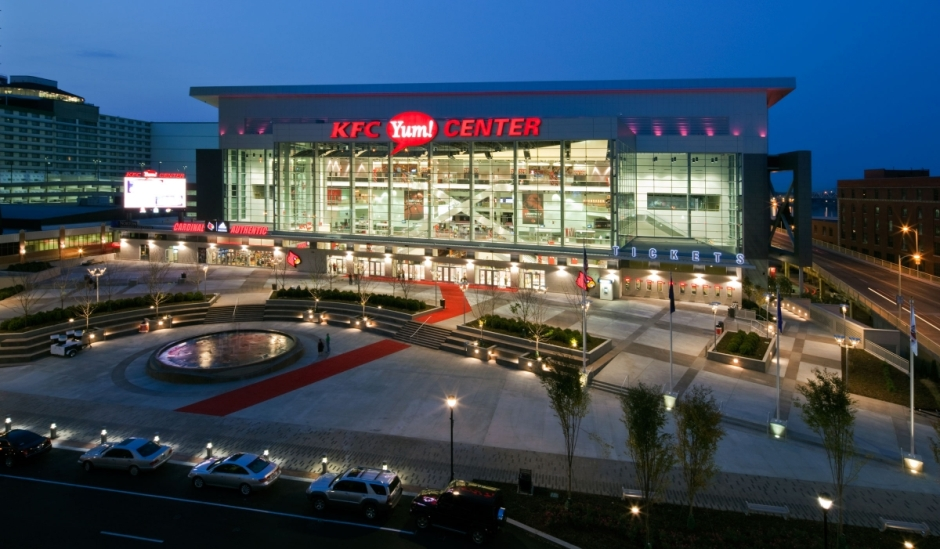 KFC Yum! Center and exterior plaza, via UofL Card Game