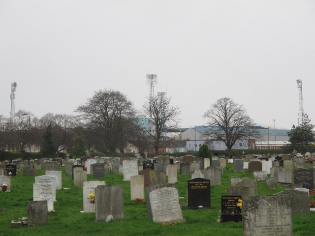 Fratton Park floodlights guide us past Milton Cemetary.