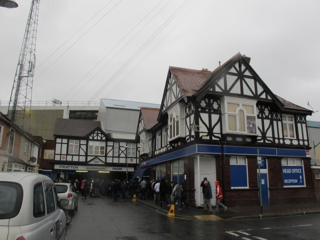 The tudor pavilion on Fratton Park's southwest end.