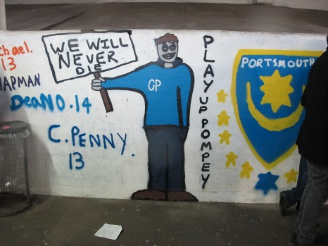 The - at times grim - mural work inside Fratton Park. (Photo: Stadiafile)