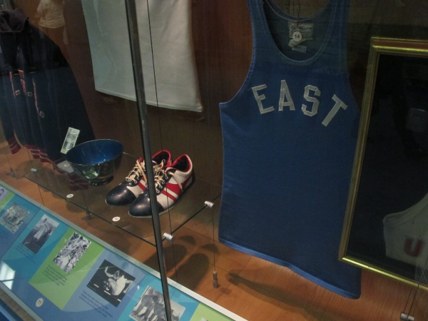 Some of the historic USA Track uniforms on display at the Hall of Fame Museum (Photo: Stadiafile)