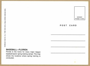 """There are many things to love about this card: its simplicity, the map of Florida's mysterious, gold """"glow"""", whose main roads lead only to the spring training grounds, and the lack of team logos adding to its timelessness (Photo: Stadiafile)"""