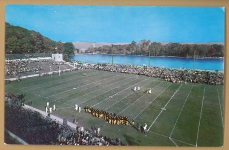 Adjacent to Michie Stadium is Lusk Reservoir, a manmade, 13-acre reservoir providing the campus drinking water. The cozy, 38,000-seat stadium's original, 3-sided structure remains intact, with an East grandstand added in 1962 and an upper deck in 1969 (Photo: Stadiafile)