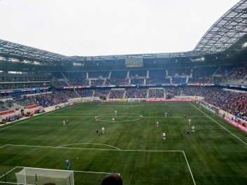 Red Bull Arena, built by the Austrian sports drink company, is a close cousin to its Austrian counterpart. Its aggressively modern exterior is refreshing in New York's traditional sports architecture landscape. [Red Bull Arena, Harrison, NJ/Capacity: 25,000/Club: New York Red Bulls] (Photo: Stadiafile)