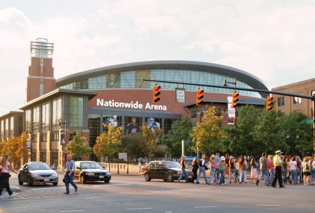 Nationwide Arena entry plaza. Notice the skylight / lantern up top. Daylit arena alert, out favorite! Look out for early tip-offs, (Photo: Derek Jensen Tysto)