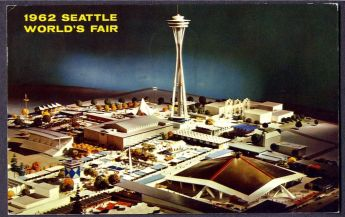 Architectural model of 1962 Seattle World's Fair. Seattle Coliseum in foreground, Space Needle overhead ((Photo: Ebay seller organzt)