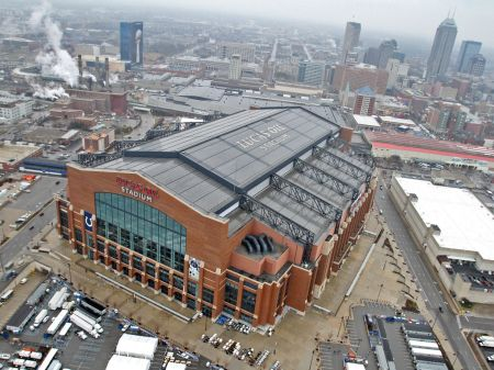 Aerial view of Lucas Oil Stadium with Downtown Indianapolis in the background (Photo: Kelly Wilkinson Indianapolis Star)